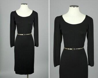 vintage 1970s knit dress • BONNIE CASHIN puff sleeve black boho dress