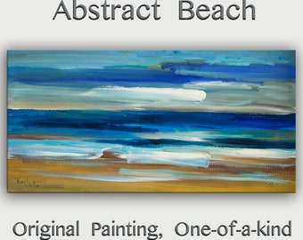 "Original Beach wall Art abstract painting huge Impasto brushwork oil painting on gallery wrap linen canvas Home Decor by Tim Lam 48"" x 24"""