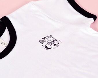 """Womens T Shirt """"OMG"""" cat shirt meow kitty shirt cat tshirt cat t-shirt cat shirt cat top tee cat clothing cat lovers gift cat shirt"""