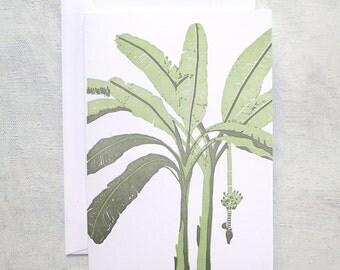 Letterpress Note Card - Banana Tree