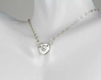 Peace sign symbol hand stamped fine silver tag necklace recycled organic