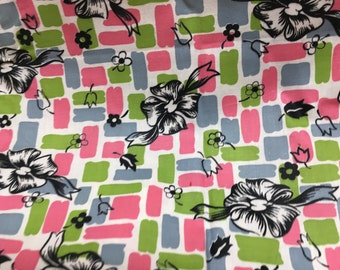 Vintage Fabric 1950s Pink Lime Blue Gray