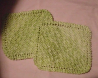 Handmade in Vermont Set ~~ 2 Cotton Knit Dishcloths