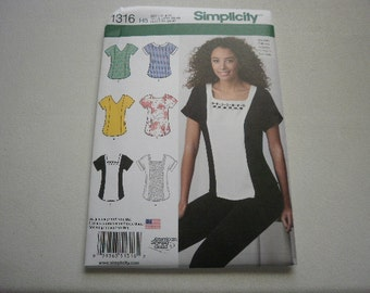 Pattern Ladies Tops 6 Styles Size 6 to 14 Simplicity 1316