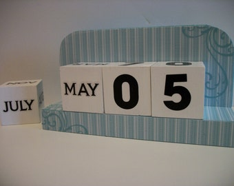Blue Stripe Calendar Perpetual Wood Block Calendar Blue Stripe Pattern