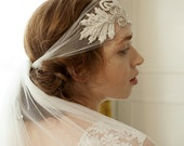 Silk headwrap Bridal Headpiece with beaded leaves and a veil in choice of lengths, waltz, chapel, cathedral. 1920s  veil, Art Deco headpiece