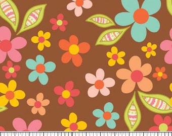 Sweet Nothings Brown Sweet Floral by Zoe Pearn Designs for Riley Blake, 1/2 yard
