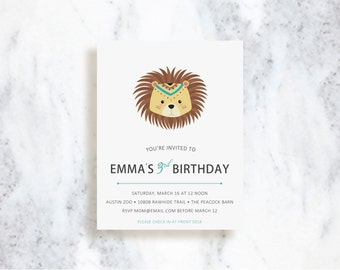 Tribal Lion Invitations | Birthday Party | Baby Shower Invite | Baby Announcement