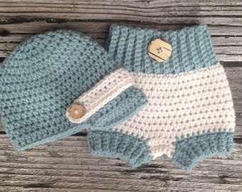 Baby Newsboy Crochet Hat and Diaper Cover, Two Tone, Cream, Blue,  Baby Hat, Newborn Diaper Cover, Newborn Crochet Hat, Infant Diaper Cover