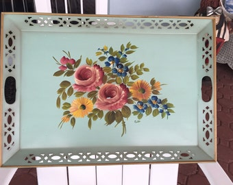 Toleware Tray/ Vintage Hand Painted Toleware Tray/ Floral LARGE c. 1950s By Gatormom13