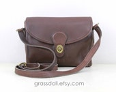 Vintage Coach Brown Leather Cross Body Shoulder Bag, Coach Leather Purse / Coach 9908