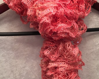 Pink Scarf, Ruffle Scarf, Salmon Scarf, Sequin Scarf, Sparkly Scarf, Gift For Her, Hand Knit Scarf, KnitWittyKnots