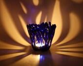 Candle Holder Fused Glass Cobalt Blue Tealight Holder