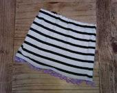 Black & White Stripe Purple Pom Pom Girls Beach Skirt 2T