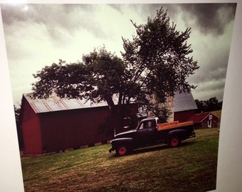 Original 8 by 8 photo on 14 by 14 paper barn and vintage truck farm art farm series