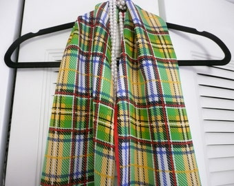Glentex Red and Green Silk Plaid Oblong Scarf
