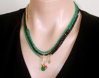 READY FOR SPRING Sale: Ashira Black Spinel and Natural Green Onyx, Gold Pyrite Gemstone Necklace with Charms - One of a Kind