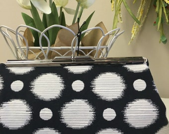 Ready  To Ship Polka Dots Black and Cream Clutch
