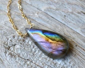 Purple Labradorite, Multi Colored Labradorite Necklace