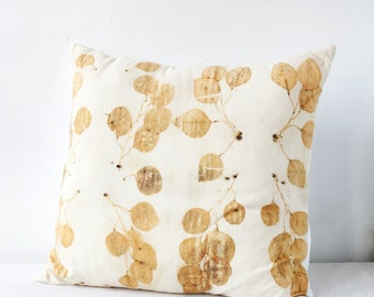 Golden Leaves Eco-Print Pillow