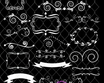 Chalkboard Wedding Flourish swags and Wreaths, Set of 36 PNG flourishes, frames and text banners Great for Card Making, Scrapbooking