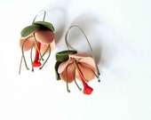 Pink Tropical flower earrings. OOAK limited edition, Ready to Ship