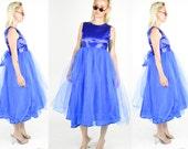 90's BLUE TULLE  LAYERED Dress. Party Dress. Full Petticoat skirt. Midi Dress. 90's Mod Sheer Layered Dress