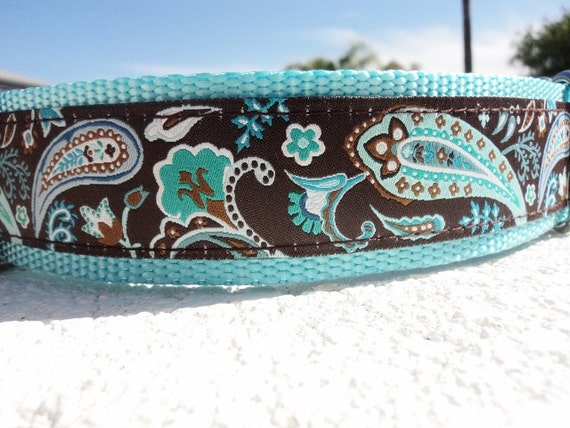 """Large Dog Collar 1.5"""" wide side release buckle Coco Paisley - martingale style is cost upgrade - see 1"""" listing"""
