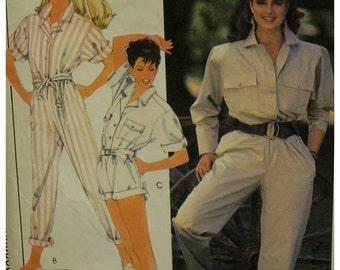 Brooke Shields Jumpsuit Pattern, Shirt Top, Long/Roll Up Sleeves, Romper, Long/Short Pants, Collar, 1980s, McCalls 8926 Size 14