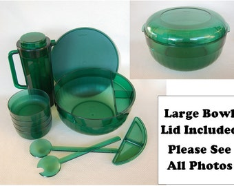 Vintage Emerald Green Acrylic Tupperware Huge Bowl, Pitcher, Green Tupperware Salad Bowls and More, Preludio 13 Pieces PLEASE See All Photos