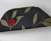 Ladybug and Butterfly Black Clutch