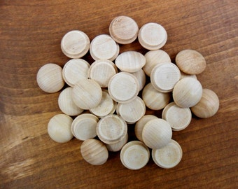 """Wood Button Plugs Unfinished Wood 5/8"""" Shank Mushroom Plugs 3/4"""" Diameter Fits 5/8"""" Screw Hole  - 100 Pieces"""