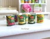 Miniature Canned Food for 1/12 scale & 1/10 scale - Groceries Cooking Meal Dollhouse Kitchen Decoration Accessories