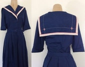 "SALE 1950's Navy Blue Cotton Sailor Collar Fit & Flare Dress Vintage Dress Size Medium 28"" Waist by Maeberry Vintage"