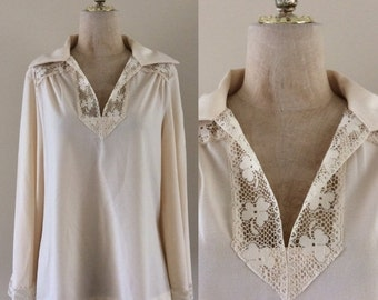 SALE 1970's Cream Polyester Crochet Top w/ Bell Sleeves