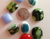 9 Fused Glass Cabochons Cabs from Fused Glass By Ginger