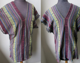 Vintage Hippy Peruvian Handloom Textile Shaman Poncho