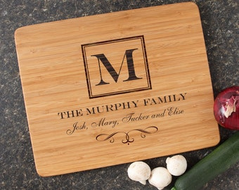 Cutting Board, Monogram, Personalized Family Gift, Custom Engraved Bamboo Cutting Board, Host Hostess Gift, Housewarming Gifts-15 x 12 D41