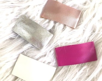 Leather Hair Clips, Faux Leather, Snap Clip, Leather, Hair Bow