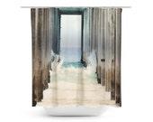 Art Shower Curtain Boardwalk 2 fine art Modern Geometric Nautical photography home decor ocean blue water wave sand geometric beach house