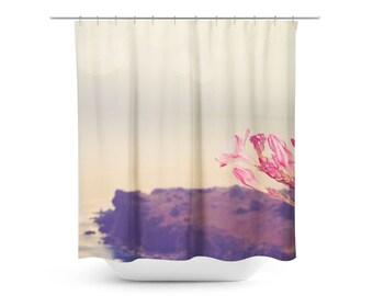 Art Shower Curtain Flowers in Paradise 3 fine art Modern Landscape photography Bathroom restroom water closet pink gray brown home decor tan