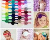Headband Set, You Pick 5, Shabby Chic FOE Headband Set, Newborn Headband, Infant Headband, Baby Girl Headbands, Flower Headband, Photo Prop