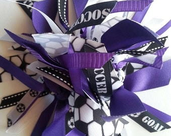 Soccer Ponytail Holder / Streamer in Purple, Black, and White