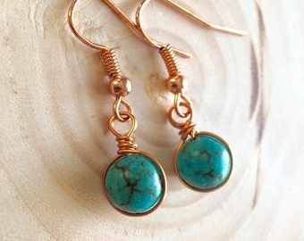 Turquoise Wire Wrapped Earrings