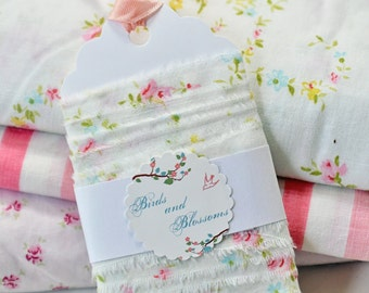 vintage sheet, fabric ribbon, embellishment, vintage style, packaging, shabby chic, floral