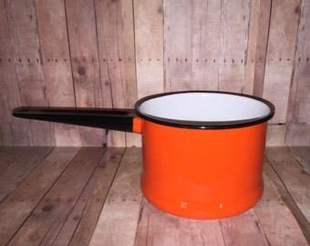 A Cute Vintage Orange Enamelware Pot With Black Trim and Handle - Orange Enamel - Vintage Pot