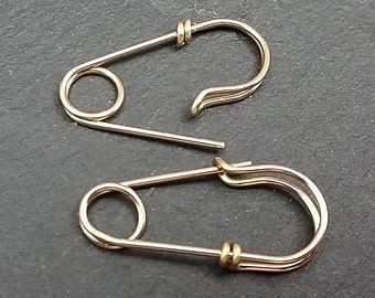 Solid 14K Gold Tiny Safety Pin Earrings, Mini Safety Pin Earrings, Smaller Earrings, Earrings for Him, Earrings for Her