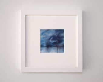 "Blue Agate, 8""x 8"" (mat size), one of a kind hand-dyed fiber art"