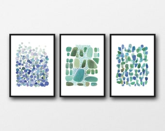 Set of 3 prints, watercolor blue green, watercolor paintings green blue,  abstract art nautical style