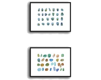 Set of 2 prints, 5x7 art Bathroom decor, giclee prints, abstract watercolor paintings, beach pebbles